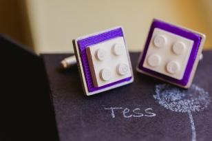 Gemelos Lego. Plata, pieza de lego y tela. Pieza única. Joyería de boda.